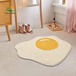 Cute Yolk Egg Shape Bath Mat for Kids Cartoon Plush Fancy Soft Water Absorbent Bathroom Decor Mat Playroom Bathtub Rug Sho...