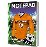 Regalo personalizado – Camiseta de fútbol – Bloc de notas A5 – Cuaderno – Cumpleaños – Navidad – Relleno de calcetín – Papá Noel secreto – cualquier color del equipo (Wolverhampton)