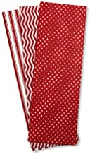 """Christmas Red & White Dots and Stripes Tissue Sheets - Set of 18 Sheets, 20"""" x 20"""", 3 Designs"""