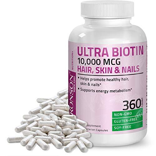 Ultra Biotin 10,000 Mcg Hair Skin and Nails Supplement, Non-GMO, 360 Vegetarian Capsules