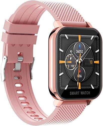 DHTOMC Reloj inteligente deportivo con medición de temperatura, actividad, ejercicio, fitness, monitor de sueño, contador de calorías, contador de pasos, compatible con Android/iOS, color rosa