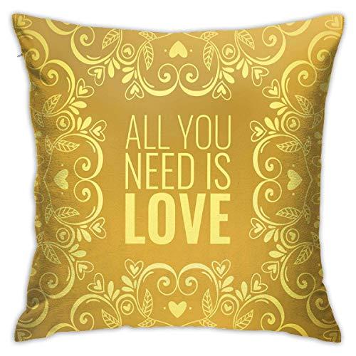 Funda de almohada para el hogar, diseño de mandala, romántico, floral, redondo, con cita en el amor, Día de San Valentín, estilo Doodle, color amarillo, con funda de almohada de 45,7 x 45,7 cm