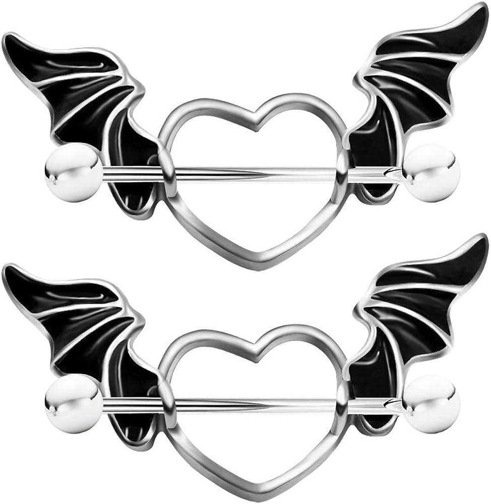 Arardo 1Pair 14G 316L Stainless Steel Nipple Rings for Women Surgical Steel Nipple Piercing Jewelry Heart Wings AB0101
