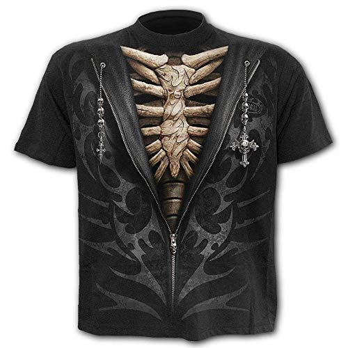 NOBRAND - Camiseta de manga corta para hombre, diseño de esqueleto digital, tamaño grande, para hombre Negro Negro ( XXL
