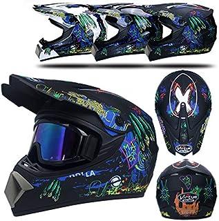 , azul XL QSWSW Casco de Moto 59~60cm Motocross Adulto Casco MX Motocicleta Scooter Casco ATV Casco Carrera D T Certificado con Guantes Protectores Cortavientos protecci/ón O