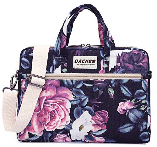 DACHEE Purple Rose Pattern 15 inch Waterproof Laptop Shoulder Messenger Bag for 14 Inch to15.6 inch Laptop and Macbook Pro 15 laptop Case