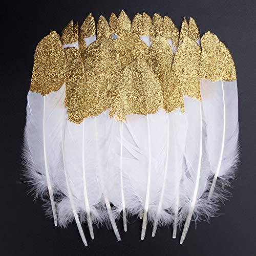 Bunte Federn, 40 Stück Gold getauchtes natürliches Weiß Gänsefedern, ideal als Dekoration zum Karnival für Halloween Fest Masken, Kostüme und Basteln für Kinder, Sicher und Ungiftig (Gold)