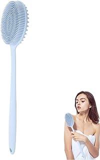 シリコンシャワーブラシ、両面ロングハンドル剥離シャワーボディ剥離ブラシバスマッサージスクラバー用女性、敏感肌、高齢者、子供(ブルー)