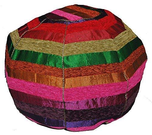 Terrapin Trading Marokkanische Stripey Pouf/Fußstütze, Geflochten. Baumwolle, Wolle und Seide Cactus Sabra. æMarrakech JazzÆ