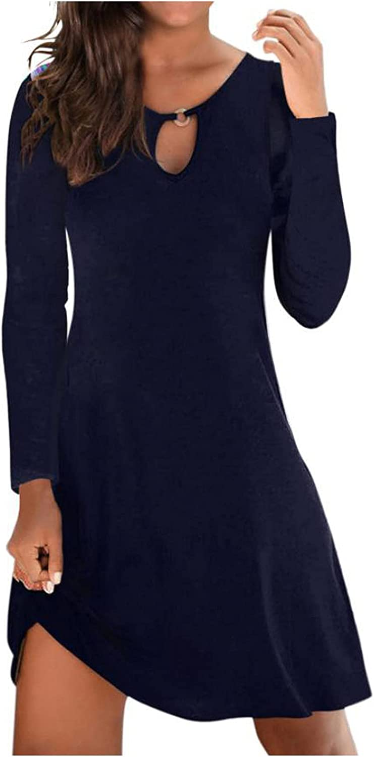 Women's Chest Hollow Swing Dress Sexy O Neck Long Sleeve Knee Length Dresses Casual Solid Slim Dress