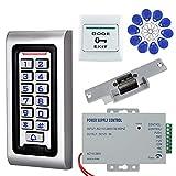 NN99 Kit de système de contrôle d'accès de Porte RFID IP68 Clavier étanche Clavier avec verrou de gâche électrique + Alimentation DC12V 3A + 10 pcs Puce clés