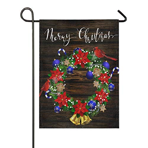 N\ A Garden Flag 12 x 18 Double Sided Merry Christmas Wooden Burlap Cardinal Poinsettias Decorative House Yard Flags for Outside Outdoor Welcome Home Decor Banner Stand Size 12x18 inches