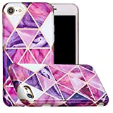 Miagon Marble Case for iPhone 6 Plus/6S Plus,Bling Electroplated Phone Cover Glossy Flexible Soft Rubber Silicone Bumper Protective Shell For Girls,Purple