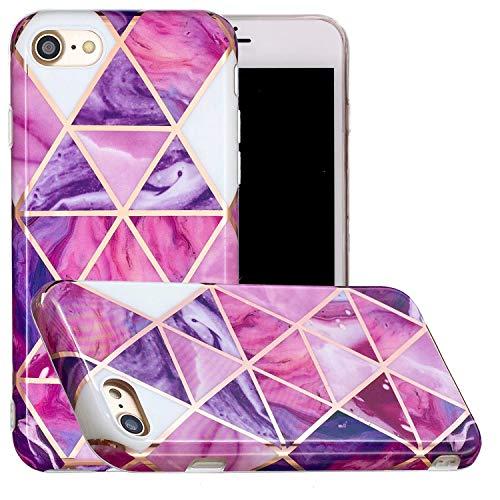 Miagon Marmor Hülle für iPhone 6/6S,Dünn Weich Silikon Flexible Handyhülle Schutzhülle Galvanisiert Marble Bumper Handytasche Zurück Cover Gummi,Lila