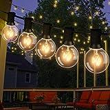 Lichterkette Außen, 12M Lichterkette mit Echten Glühbirnen Aussen G40 Beleuchtung 30 Birnen mit 5 Ersatzbirnen Wasserdicht für Garten,Terrasse, Bäume, Hof, Party Deko - Warmweiß