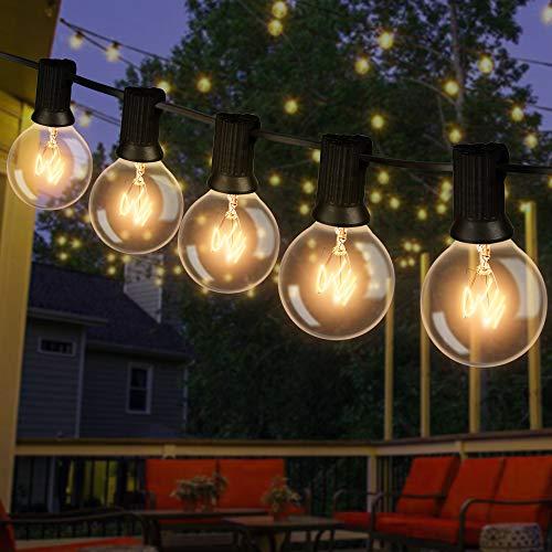Lichterkette Außen, 12M Lichterkette Glühbirnen Aussen G40 Beleuchtung 30 Birnen mit 5 Ersatzbirnen Wasserdicht Lichterkette Glühbirnen Aussen für Garten,Terrasse, Bäume, Hof, Party Deko - Warmweiß