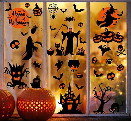 Voqeen Pegatinas para Ventana de Halloween Castillo Bruja Espantapájaros Esqueleto Clips Bat Araña Calcomanías Decoraciones para Fiestas de Halloween Reutilizable para decoración (A)