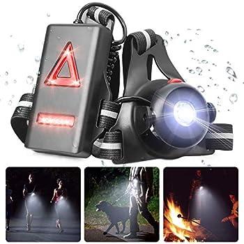 POMLEE LED Lampe de Course à Pied, USB Rechargeable Lampe de Poitrine avec 120° Angle d'éclairage réglable, étanche Éclairage pour Course avec 3 Mode d'éclairage pour Le Jogging, la pêche, Le Camping