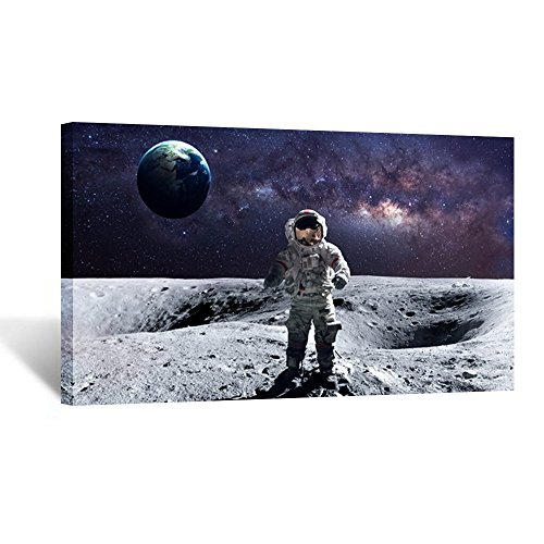 Kreative Arts - Astronaut Standing on The Moon Overlooking Planet Earth...