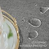 Leinen Optik Tischdecke Wachstischdecke Outdoor Garten Abwaschbar Lotuseffekt Outdoor Tischdecke Garten Tischdecken Terrasse Tischdeko Tischwäsche Küche Gartentisch 140x240 cm Hellgrau - 2