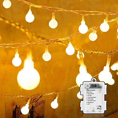 Lamantt LED-Lichterkette, 6 m, 50 LEDs, kugelförmig, wasserdicht, batteriebetrieben, warmweiß, Lichterkette für Innen- und Außenbereich, Party, Wohnzimmer, Schlafzimmer, Garten