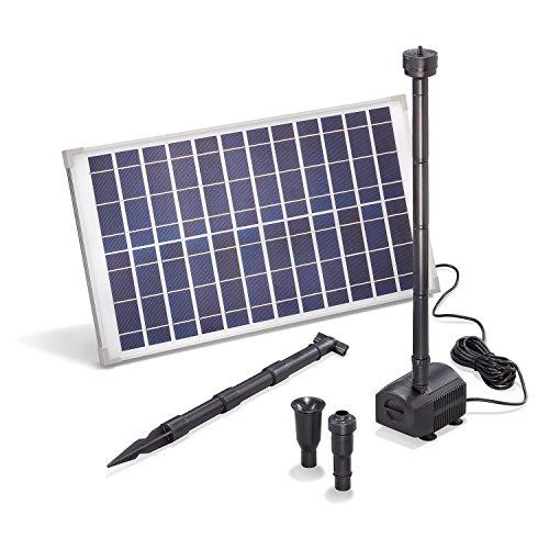 Solar Teichpumpe 25 Watt Solarmodul 1250 l/h Förderleistung 1,6 m Förderhöhe esotec Professional Produktserie Komplettset Springbrunnen Gartenteich, 101915