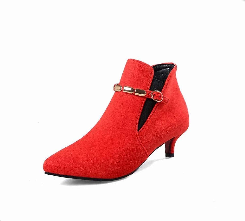 Fuxitoggo Damenschuhe - Herbst und Winter Warme Damenstiefel Martin Stiefel Stiletto Fashion Schuhe   34-40 (Farbe   Rot, Größe   39)