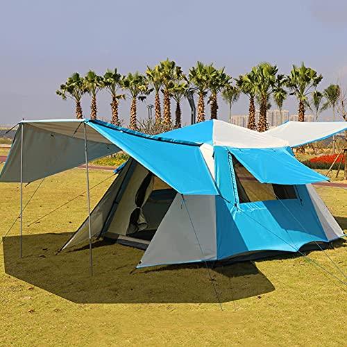 Carpas emergentes con porche para acampar, 3-4 personas, doble capa, para tienda de campaña familiar, fácil de instalar, para camping, senderismo, montañismo, playa (color azul, tamaño: 3)