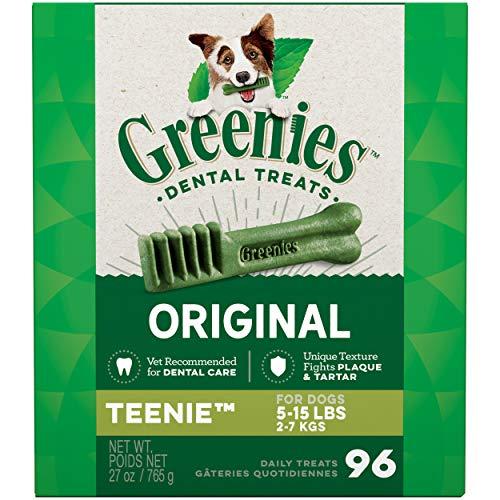 pet supplies inc dentals GREENIES Original TEENIE Natural Dog Dental Care Chews Oral Health Dog Treats, 27 oz. Pack (96 Treats)