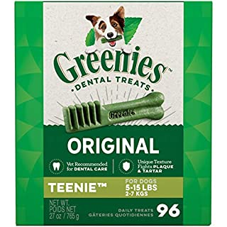 GREENIES Original TEENIE Natural Dog Dental Care Chews Oral Health Dog Treats, 27 oz. Pack (96 Treats) (B001G96UK8) | Amazon price tracker / tracking, Amazon price history charts, Amazon price watches, Amazon price drop alerts