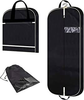 "54"" Garment Bag with Extra Large Pockets for Travel, Gusseted Suit Cover Mens Womens Foldable Hanging Bags for Clothes Shirts Dresses Coats"