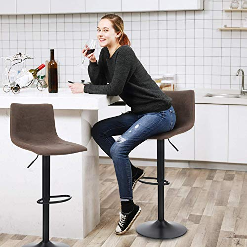 MAISON ARTS Bar Stools Set of 2 for Kitchen Counter Adjustable Counter Height Bar Chairs with Back Tall Barstools PU Leather Kitchen Island Stools, 300 LBS Bear Capacity, Brown