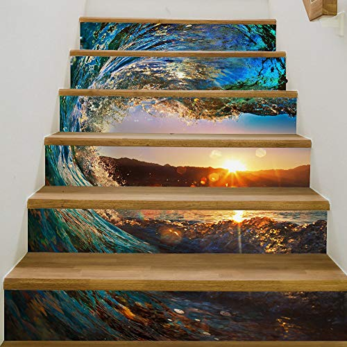 Wandtattoo Aufkleber, 3D-Wellen und Sunrise Stair Aufkleber Decals Kids Love Abnehmbare wasserdichte Treppe Vinyl Aufkleber für Wohnkultur