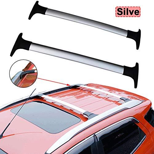 XDDXIAO Car Styling Aleación De Aluminio Barras Laterales Rieles Cruzados Rack De Techo Portaequipajes Rack 2Pcs para Ecosport 2013-2020,Plata