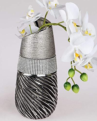 formano Deko Vase Strass Magic konisch rund H. 25cm grau Silber Keramik W19