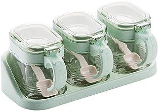weichuang Lot de 3 pots à épices en verre - Pour assaisonnement, assaisonnement, rangement - Pour la cuisine - Pour la cui...