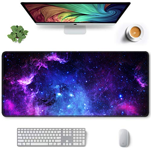 Auhoahsil Large Mouse Pad, Full Desk XXL Extended Gaming Mouse Pad 35' X 15', Waterproof Desk Mat with Stitched Edges, Non-Slip Laptop Computer Keyboard Mousepad for Office and Home, Galaxy Design