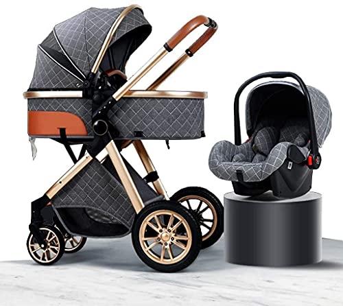YQLWX 3-in-1 Travel System Baby Pram, High Landscape Anti-Shock Newborn Baby Stroller with Stroller Organizer, Pushchair & Accessories (Color : Blue) (Color : Gray)