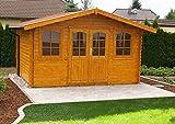 Alpholz Gartenhaus Mirko-28 aus Massiv-Holz   Gartenhaus mit 28 mm Wandstärke   Garten Holzhaus inklusive Montagematerial   Geräteschuppen Größe: 400 x 300 cm   Satteldach