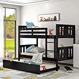 Twin Size Wood Bunk Bed Frame, Solid Wood Bunk Bed with Trundle, Bedroom, Guest Room Furniture, Can be Divided into 2 beds (Espresso)