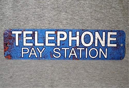 Placa de metal para teléfono de la estación de pago de la moneda pública vintage réplica de cabina de teléfono prop botón giratorio garaje hombre cueva pared placa
