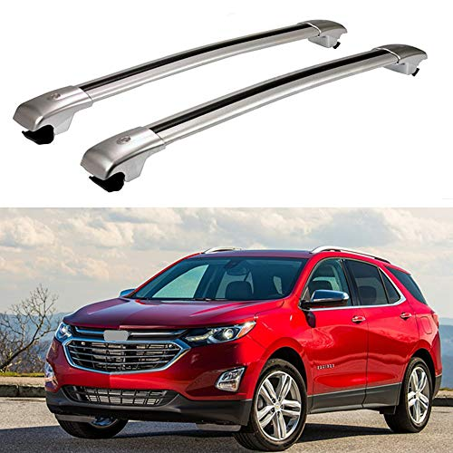 MotorFansClub Top Roof Rack Cross Bar, Luggage Rack Cargo Rail Fit for Compatible with Chevrolet Equinox 2018 2019 Aluminum Silver