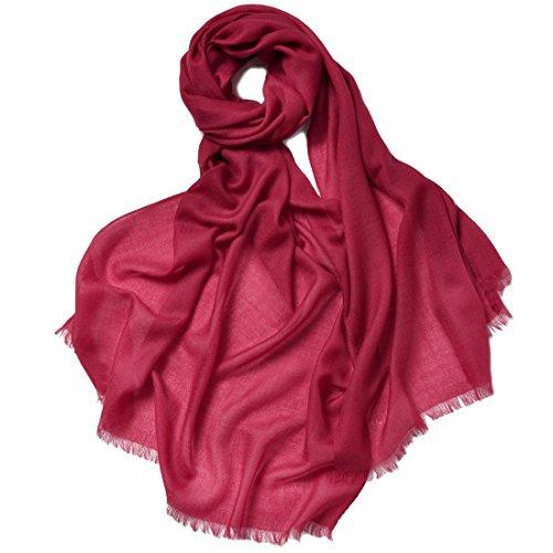 Zorjar Damen-Schal, 100 % Kaschmir, sehr dünn, superweich, warm, lang, groß, 68,6 x 198,1 cm Gr. One size, Burgunderrot