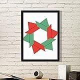 DIYthinker Resumen de Navidad Flor de Origami patrón de la Pintura del Arte Foto de la Imagen del rectángulo de Madera del hogar del Marco Regalo decoración de la Pared Medio Negro