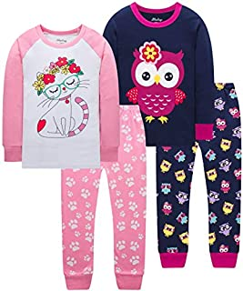 Image of A Popular PJ Pick: 2 Pack Adorable Owl and Cute Cat Pajamas for Girls - See More Designs
