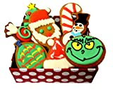 Christmas Dog Treats Gift Box with Grain Free Organic Decorated Cookies