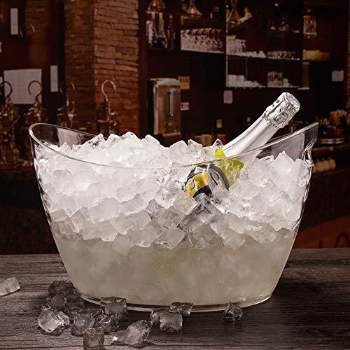 ZXL Grote ijsemmer, 14 l, oversized wijnkoeler voor heldere dranken, ijsblok, draagbaar, draaggreep, kom
