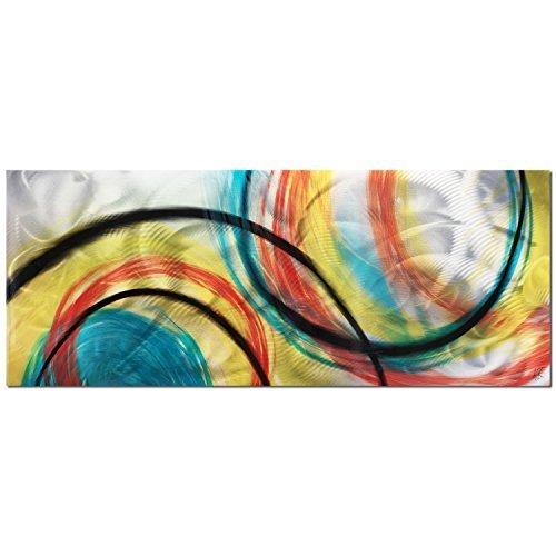Metal Art Studio 'Rainbow Seasons' Colorful Circles Abstract Art by Metal Art Studio