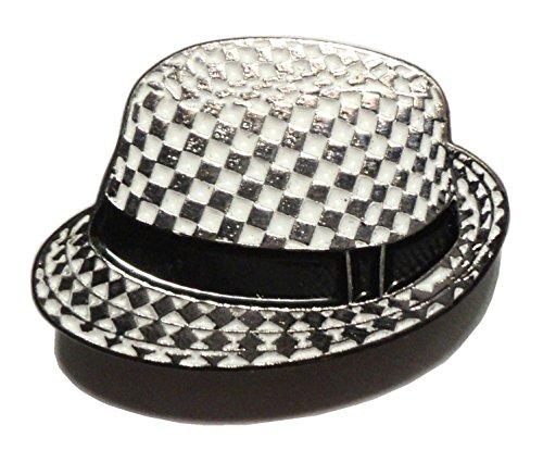 Schachbrettabzeichen SKA, 2 Farbtöne, schwarz-weißer Hut, Metall Emaille