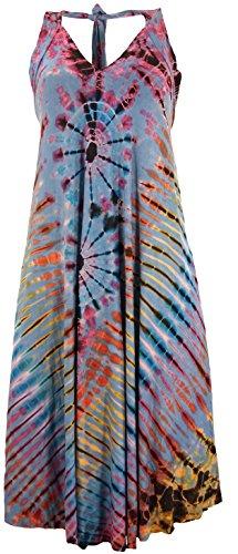 Guru-Shop Rückenfreies Batik Midikleid, Batikkleid, Neckholder Boho Kleid, Damen, Hellblau, Synthetisch, Size:38, Lange & Midi-Kleider Alternative Bekleidung
